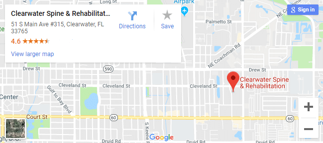 Map of Clearwater chiropractors